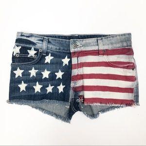 Carmar American Flag Stretch Low Rise Denim Shorts